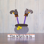 Foundations Decor - Halloween Collection - Wood Crafts - Witch in Cauldron