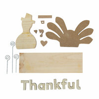 Foundations Decor - Thanksgiving Collection - Wood Crafts - Picture Holder - November Complete Set