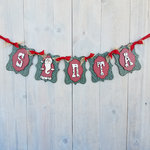 Foundations Decor - Christmas Collection - Wood Crafts - Santa Banner
