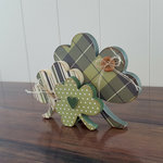 Foundations Decor - St Patrick's Day Collection - Wood Crafts - Shamrock Trio
