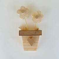 Foundations Decor - Spring Collection - Wood Crafts - Flowers in a Pot