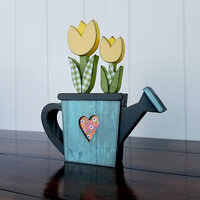 Foundations Decor - Spring Collection - Wood Crafts - Watering Can with Flowers