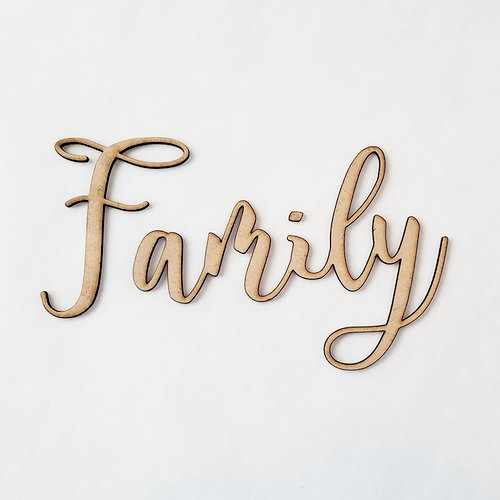 Foundations Decor - Wood Crafts - Connected Words - Family - Script Font