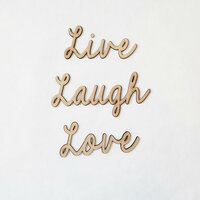 Foundations Decor - Wood Crafts - Connected Words - Live Laugh Love - Smooth Font