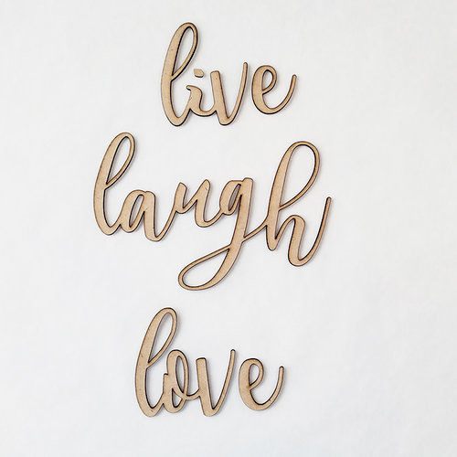 Foundations Decor - Wood Crafts - Connected Words - Live Laugh Love - Script Font