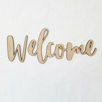 Foundations Decor - Wood Crafts - Connected Words - Large - Welcome - Script Font