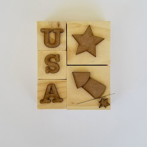 Foundations Decor - 4th of July Collection - Wood Crafts - USA Blocks