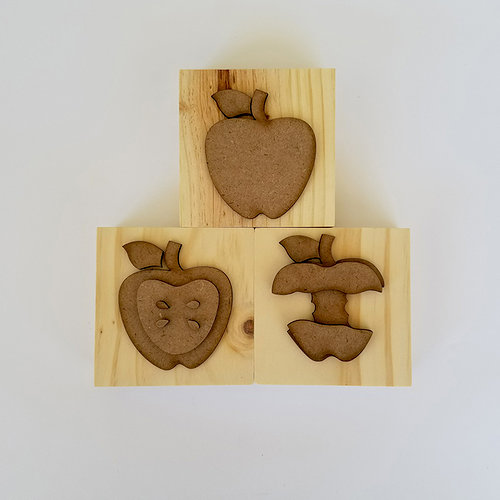 Foundations Decor - Autumn Collection - Wood Crafts - Apple Blocks