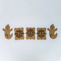 Foundations Decor - Halloween Collection - Wood Crafts - BOO and Ghosts Banner