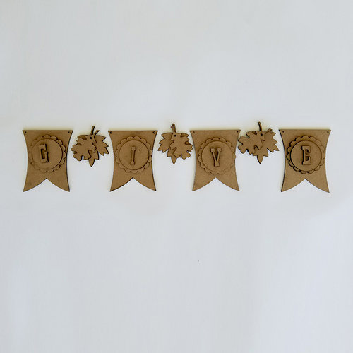 Foundations Decor - Thanksgiving Collection - Wood Crafts - GIVE and Leaves Banner