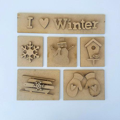 Foundations Decor - I heart Winter Kit for Shadow Box