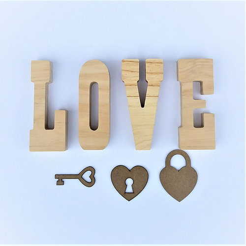 Foundations Decor - Valentines Collection - Wood Crafts - LOVE with Key and Locket