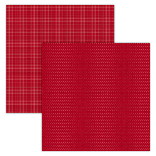 Foundations Decor - 12 x 12 Double Sided Paper - Plaid and Dots - Red
