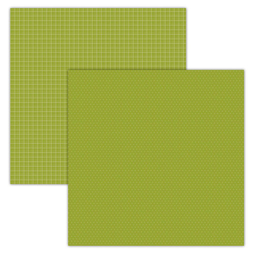 Foundations Decor - 12 x 12 Double Sided Paper - Plaid and Dots - Green