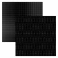 Foundations Decor - 12 x 12 Double Sided Paper - Plaid and Dots - Black
