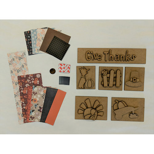Foundations Decor - Thanksgiving Kit with Paper for Shadow Box