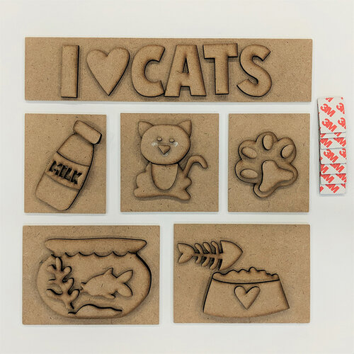 Foundations Decor - I Love Cats Kit for Shadow Box