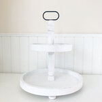 Foundations Decor - Tiered Tray - Distressed White Finish - Round
