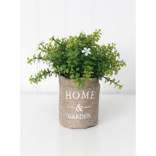 Foundations Decor - Tray Decor - Home and Garden - Burlap Bag and Spring Flowers