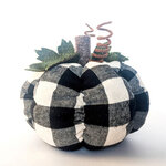 Foundations Decor - Tray Decor - Black Plaid Pumpkin