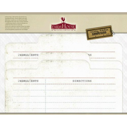 FarmHouse Paper Company - Country Kitchen Collection - Recipe Cards - From Scratch