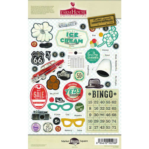 FarmHouse Paper Company - Market Square Collection - Chipboard Stickers - Emporium