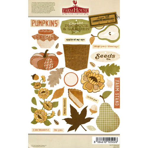 FarmHouse Paper Company - Sugar Hill Collection - Chipboard Stickers - Fall