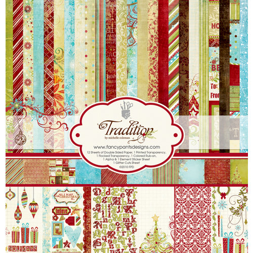 Fancy Pants Designs - Tradition Collection - Christmas - 12 x 12 Paper Kit, BRAND NEW - click to enlarge