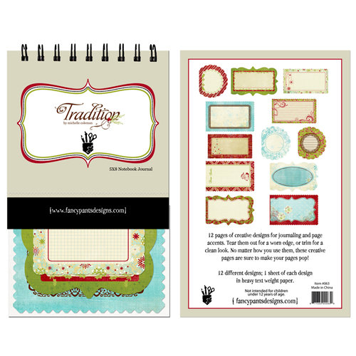 Fancy Pants Designs - Tradition Collection - Christmas - 5 x 8 Notebook Journal