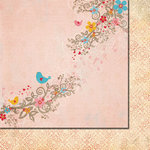 Fancy Pants Designs - Love Birds Collection - 12 x 12 Double Sided Paper - Love Song
