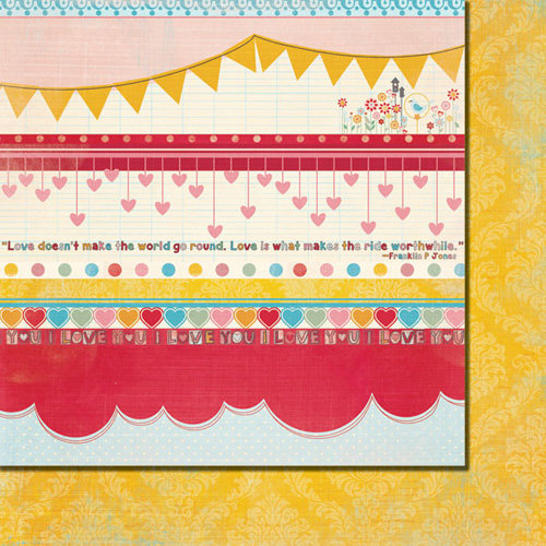 Fancy Pants Designs - Love Birds Collection - 12 x 12 Double Sided Paper - Love Birds Strips, BRAND NEW