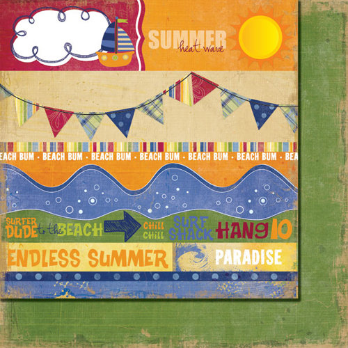 Fancy Pants Designs - Beach Bum Collection - 12 x 12 Double Sided Paper - Beach Bum Strips