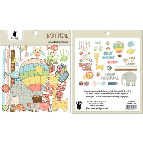 Fancy Pants Designs - Baby Mine Collection - Design Embellishments - Die Cut Cardstock Pieces