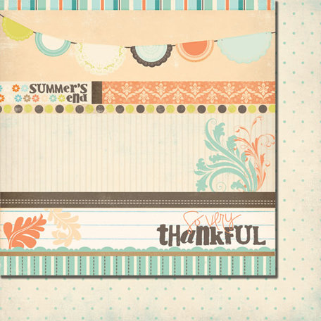 Fancy Pants Designs - Summer's End Collection - 12 x 12 Double Sided Paper - Summer's End Strips