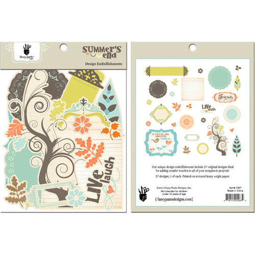 Fancy Pants Designs - Summer's End Collection - Design Embellishments - Die Cut Cardstock Pieces