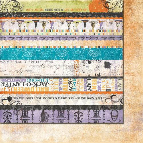 Fancy Pants Designs - Oct 31st Collection - Halloween - 12 x 12 Double Sided Paper - Oct 31st Strips