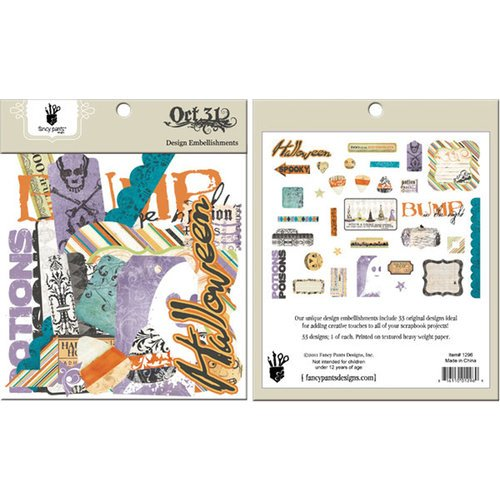 Fancy Pants Designs - Oct 31st Collection - Halloween - Design Embellishments - Die Cut Cardstock Pieces
