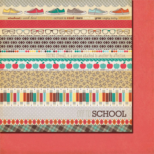 Fancy Pants Designs - Off to School Collection - 12 x 12 Double Sided Paper - Off to School Strips