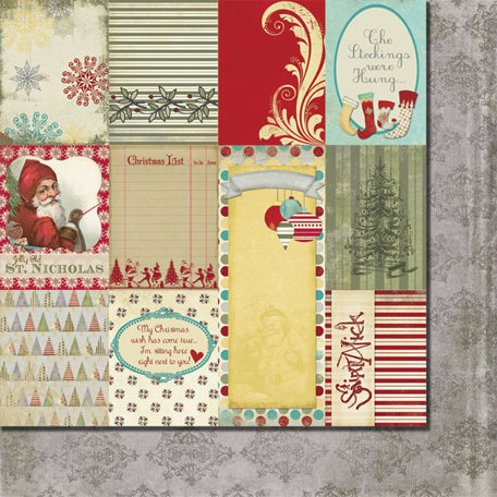 Fancy Pants Designs - Saint Nick Collection - Christmas - 12 x 12 Double Sided Paper - Saint Nick Cards