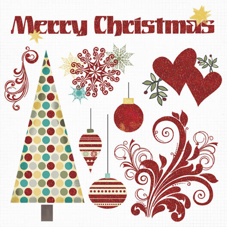 Fancy Pants Designs - Saint Nick Collection - Christmas - Glitter Cuts Transparencies