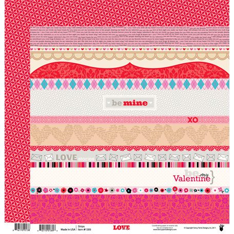 Fancy Pants Designs - Love Story Collection - 12 x 12 Double Sided Paper - Love Story Strips