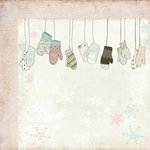 Fancy Pants Designs - Winterland Collection - 12 x 12 Double Sided Paper - Row of Mittens