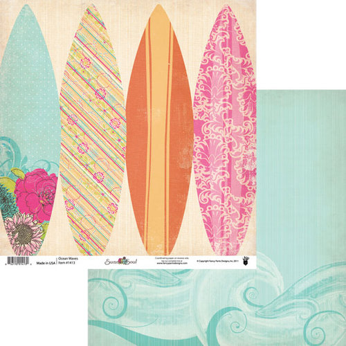 Fancy Pants Designs - Summer Soul Collection - 12 x 12 Double Sided Paper - Ocean Waves