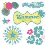 Fancy Pants Designs - Summer Soul Collection - Glitter Cuts Transparencies