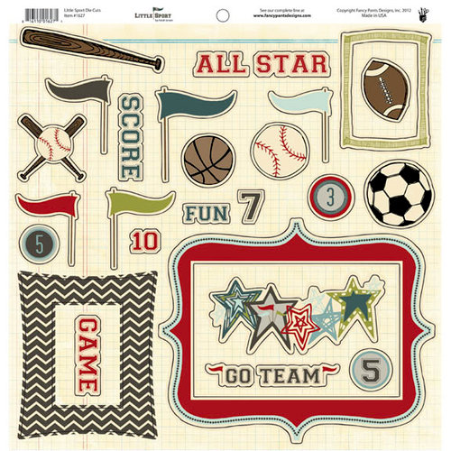 Fancy Pants Designs - Little Sport Collection - 12 x 12 Cardstock Die Cuts - Pieces