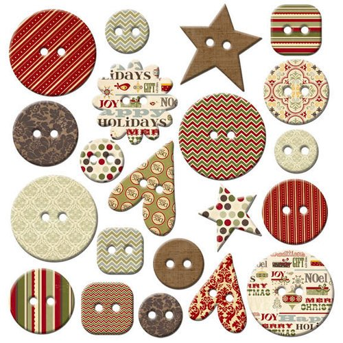 Fancy Pants Designs - Home for Christmas Collection - Mingled Buttons