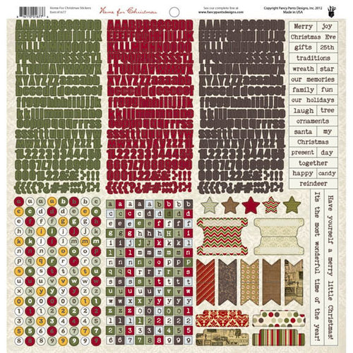 Fancy Pants Designs - Home for Christmas Collection - 12 x 12 Cardstock Stickers - Fundamentals