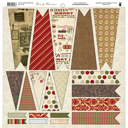 Fancy Pants Designs - Home for Christmas Collection - 12 x 12 Cardstock Die Cuts - Banner
