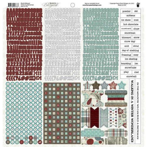 Fancy Pants Designs - Blissful Blizzard Collection - 12 x 12 Sticker Cardstock Stickers - Fundamentals