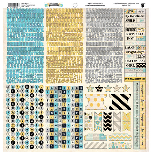 Fancy Pants Designs - Park Bench Collection - 12 x 12 Cardstock Stickers - Fundamentals